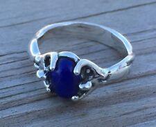 Egyptian Moon Goddess Ring .925 Sterling SILVER Sz 8 w/ Genuine Lapis Lazuli