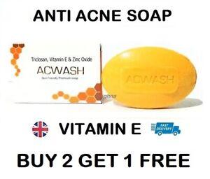 Vitamin E Anti Acne Soap Bar Acne Spots Pimples Blackheads Antibacterial 75g
