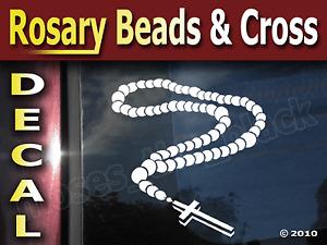 Rosary Beads Cross Vinyl Decal, 145mm x 165mm , Car windows, Room wall - Fridges