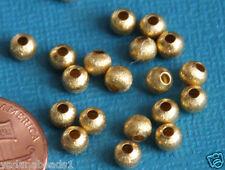 100 Gold Plated Round Brush Beads 4mm