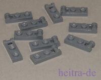 LEGO - 10 x Platte 1x2 mit Halter an Längsseite dunkelgrau / 60478 NEUWARE