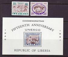 Liberia # 396 & C132-33 MNH Complete 1961 UNESCO Set