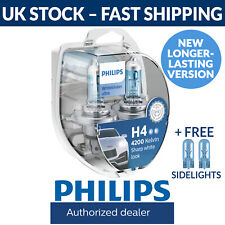 Philips H4 White Vision Ultra Car Headlight Bulbs (Twin Pack) New 12342WHVSM