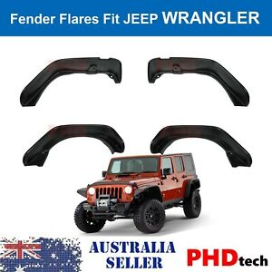 2007-2018 Jeep Wrangler JK Flat Style Fender Flares w/ LED Side Marker Lights