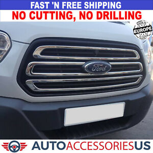 2014-2019 FORD TRANSIT 150 250 350 Front Bumper Grille S.Steel Trim Cover 3 Pcs