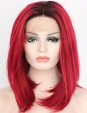 Straight Ombre Red Black Bob Wigs Short Lace Front Wig Synthetic