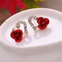 Women Fashion Gold Color Rhinestones Earrings Heart-shaped Red Rose Flower Stud