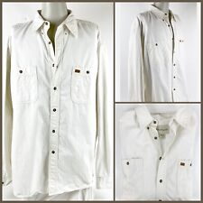 GreatLand Men's Relaxed Fit Button Front Shirt Size XL Ivory 100% Cotton EC