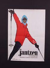 VINTAGE 1960's JANTZEN SWIMSUIT CO. ITALIAN SKI APPAREL STORE ADVERTISING POSTER