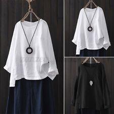 ZANZEA Femme Loisir Coton Manches longues Loose Tops Hauts Chemises T-shirts