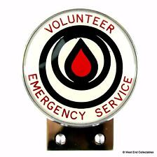 1960s Car Badge - Volunteer Emergency Service - Fire Brigade Ambulance Rescue