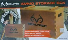 Realtree Large Wooden Ammo Box w/ Handles Gun Accessory Wood Storage Case Holder