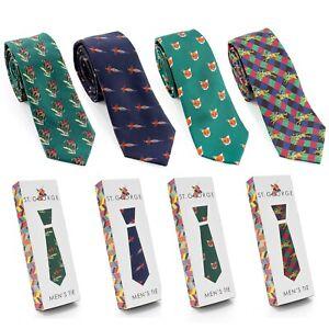 Men's Microfibre Printed Country Scene Neck Tie Gift Boxed