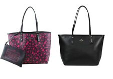 NWT Coach Reversible City Tote In Flower Print Canvas Pink Ruby/Black F55862