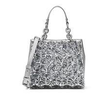 Michael Kors Womens Flora Burst Leather Satchel Handbag Silver Small