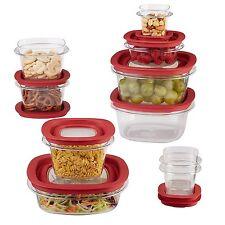 Rubbermaid 1857418 20-Piece Premier Food Storage Container Set, Red