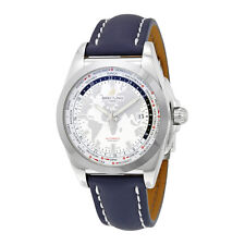 Breitling Galactic Unitime Antarctica White Dial Blue Leather Mens Watch