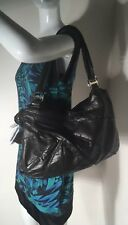 KOOBA Extra Large Black Leather Hobo Shoulder Bag Double Handle Purse