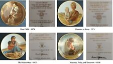 """Irene Spencer ~ Set of 4 ~ 8⅜"""" COLLECTIBLE PLATES with 12"""" WOODEN FRAMES"""