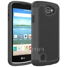 LG K4 LTE Rugged Rubber Dual Layer Impact Hybrid Hard Case Cover - Black