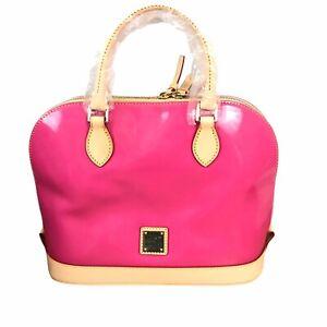 Dooney & Bourke Zip Zip Satchel Patent Leather Fuchsia Pink PV343 NEW
