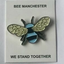 Manchester Worker Bee badge in Man City blue & black metal enamel
