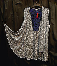 OPEN FRONT STRETCH KNIT CROCHET LACE BACK CARDIGAN SWEATER VEST TOP~22/24~2X~3X