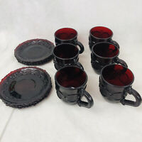 12 Piece Avon Cape Cod Ruby Red Glass 6oz Coffee Tea Cup Saucer Set Vintage Vtg
