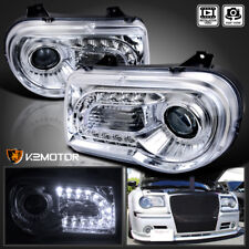 2005-2010 Chrysler 300C Chrome LED Strip Projector Headlights Left+Right