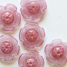 RachelArt - Pink Flowers Glass Beads Lampwork Spiral Handmade Artisan