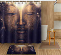 Great Buddha Waterproof Bathroom Polyester Shower Curtain Liner Water Resistant