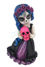 6.12 Inch Poly Stone Cosplay Kids Day of The Dead Holding Pink Skull collectible