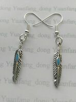 Tibetan Silver Native American Indian Tribe Feather Leaves Turquoise Earrings