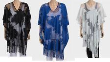 Womens ZARA Floral Motif Fringe Hem Lace Poncho - One Size