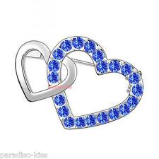 Spilla Donna Zircone Cristallo SwarovskiI Elements Doppia Cuori Blu SP08