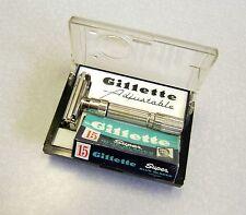 Vintage Gillette 195 Fat Boy Safety Razor Set w Case NOS Blue Blades F-1 1960