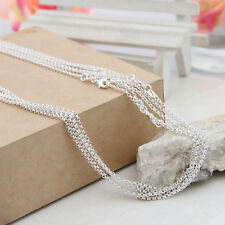 """925 Sterling Silver Plated O-Ring Chains Necklace Jewelry Charms Pendants 16-30"""""""