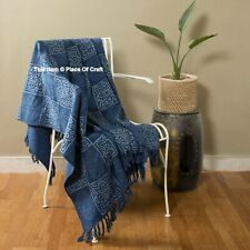Indian Indigo Blue Cotton Couch Blankets Bedding Throw Designer Sofa Couch Cover