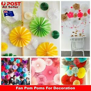 Tissue Paper Fan Pom Poms Wedding Party Baby Living Room Decoration Home AU