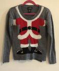 Christmas Santa Ugly Sweater Sz S Funny Humor Crewneck Grey