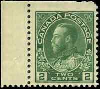 Canada #107e mint F-VF OG NH 1923 King George V 2c green Admiral Dry Printing
