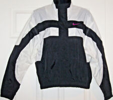 NIKE Womens Warm Up Running Jacket Full Zip Snap Black & White Sz S (4-6) Mint!