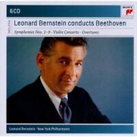 LEONARD BERNSTEIN - BEETHOVEN-SINFONIEN 1-9,OUVERTÜREN,VIOLINKONZERT 6 CD NEU