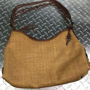 Fossil Medium Brown Straw Leather Vintage Single Handle 5 Pockets Inside Satchel