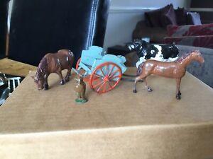 BRITAINS/OTHER GROUP OF MILKCART,BULL,OWL,HORSE LEAD FARM/CIVILIAN ITEMS.