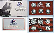 2004-S 5 Coin Silver Proof Quarter Set OGP W/COA