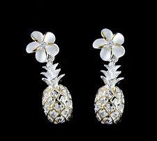placcato oro giallo argento 925 HAWAIANO Plumeria pendente ANANAS orecchini