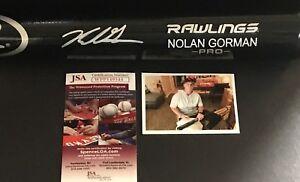 Nolan Gorman St Louis Cardinals Signed Engraved Bat JSA WITNESS COA Black A