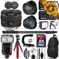 Canon 50mm f/1.4 USM + Pro Flash + LED Light + Tripod - 64GB Holiday Gift Bundle