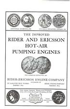 RIDER & ERICSSON HOT-AIR PUMPING ENGINES - New Softcover Repro - NEW Booklet